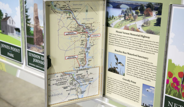 Each panel on the on the back door's interior features interesting facts about a specific landmark along the parkway
