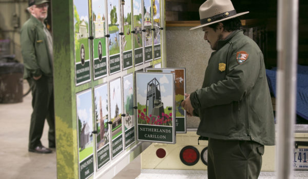 Park rangers drive the mobile visitors center to various locations to share the parkway's landmarks with the public