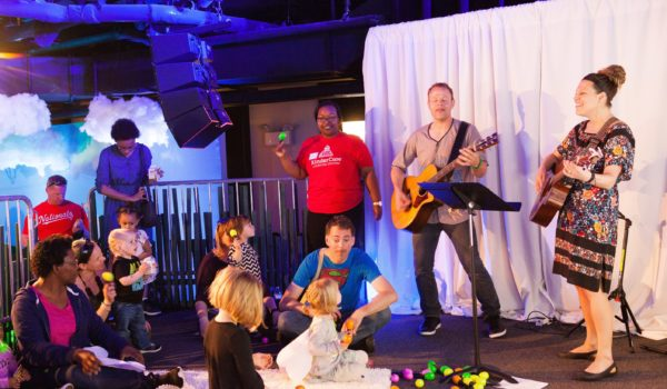 The band invited children and parents to play along