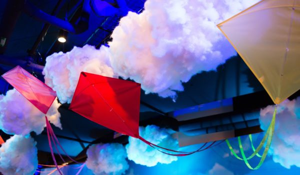 Kites and clouds adorned the ceiling of the venue