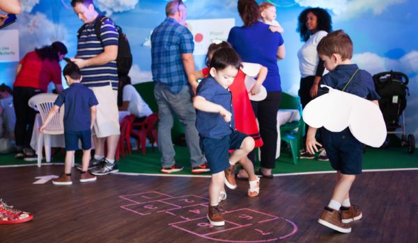 A game of hopscotch was incorporated into the flooring, allowing kids another outlet for play