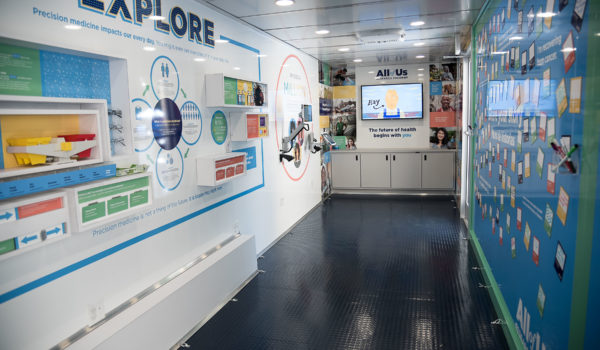 A view inside the mobile exhibit