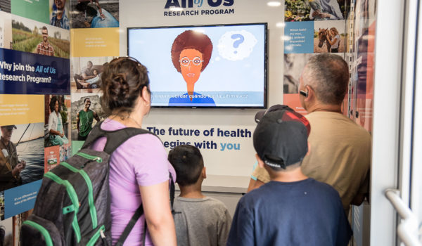 A video inside the exhibit explains what precision medicine is and why it matters