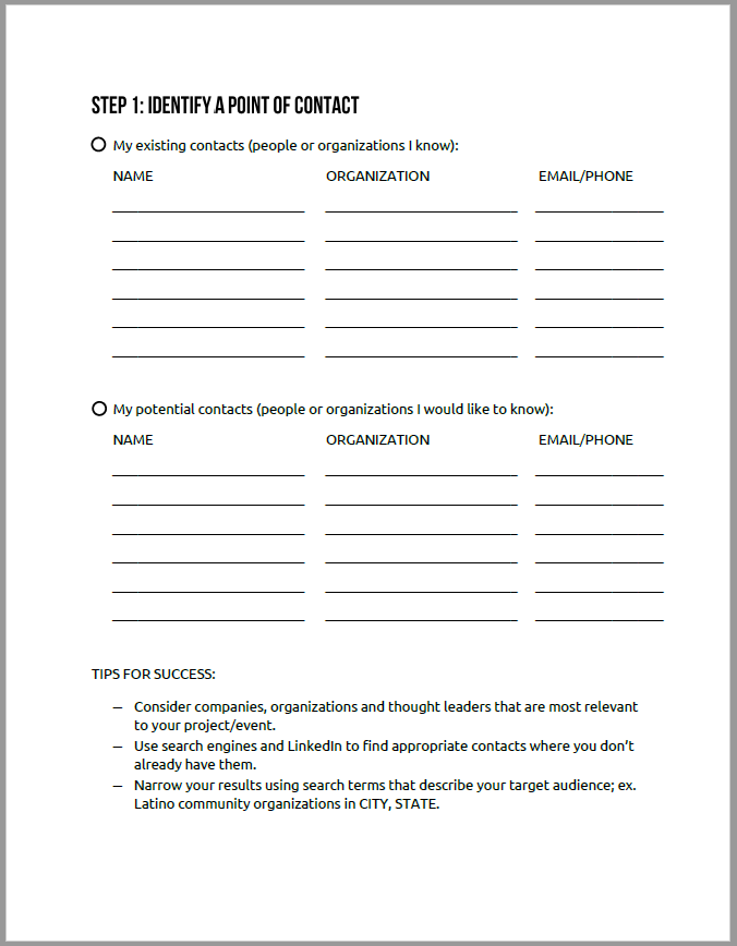 Montage Marketing Group Event Outreach Checklist