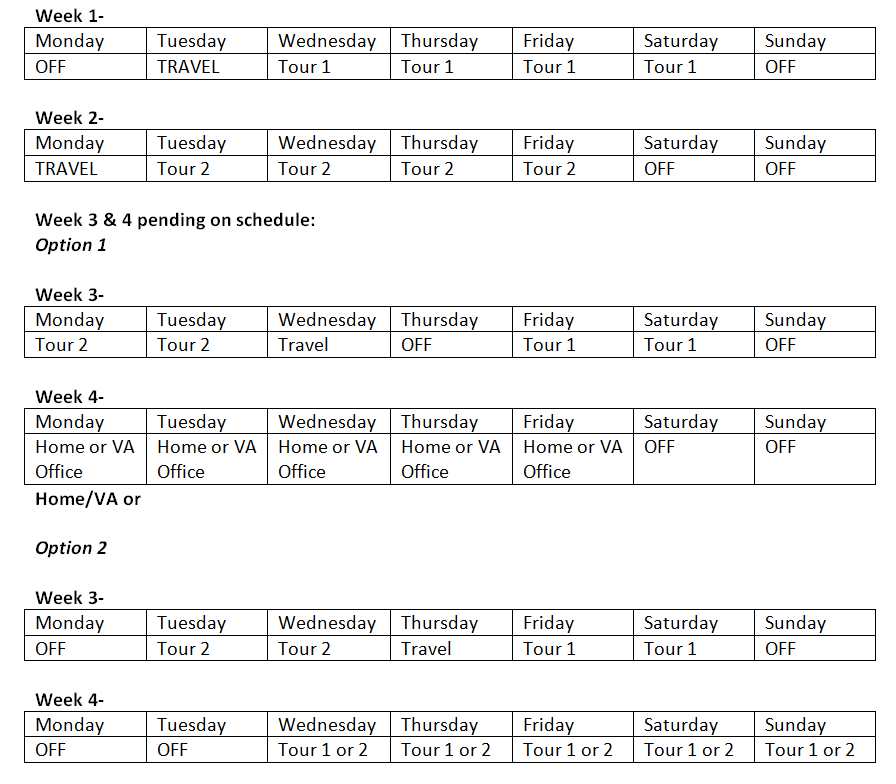 Potential Monthly Schedule for Field Director