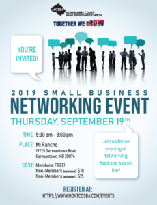 Montgomery County Small Business Association September Networking Event flyer